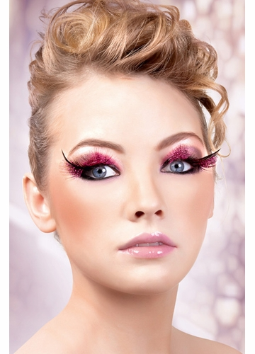 Pink and Black Feather Lashes