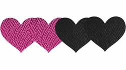 Pink And Black Heart Self Adhesive Pasties