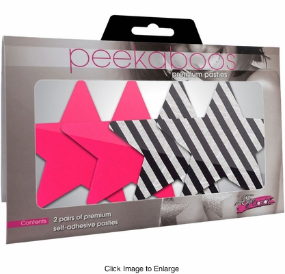 Pink and Stripe Star Adhesive Pasties