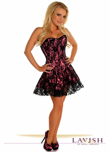 Pink Corset Dress with Lace Overlay