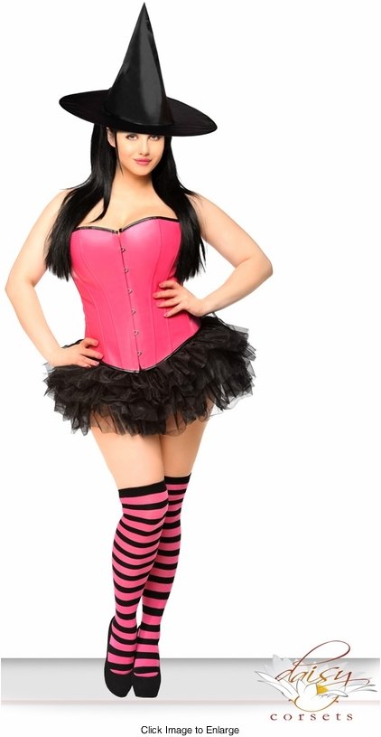 Pink Corset Witch Costume with Hat, Petticoat and Stockings