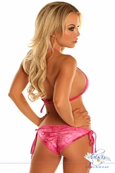 Pink Glitter Pucker Back Bikini with Rhinestones