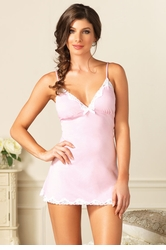 Pink Jersey Night Gown with Lace Trim