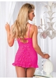 Pink Lace Mini Dress with Ruffle Back inset 1