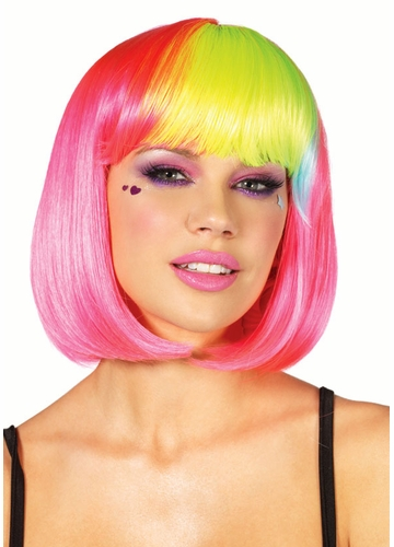 Pink Rave Wig with Rainbow Bangs