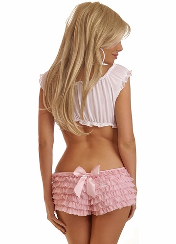 Pink Ruffle Shorts with Bow Accents