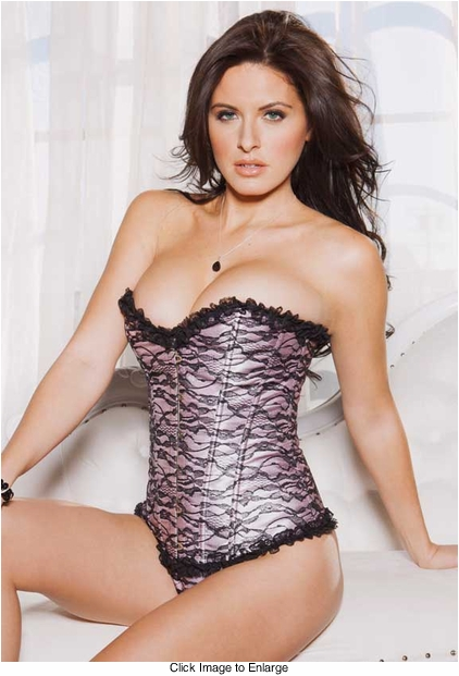Pink Satin Corset with Lace Overlay