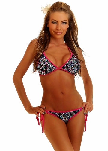 Pink Trim Confetti Sequin Pucker Back Bikini