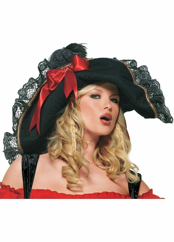Pirate Hat with Lace Trim and Satin Bows
