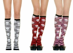 Pirate Stripe Knee Highs with Silver Skulls