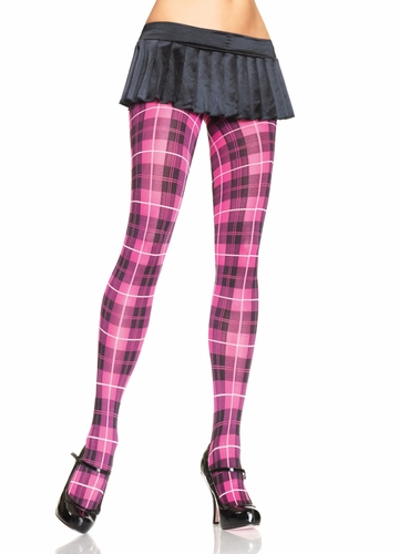 Plaid Opaque Pantyhose