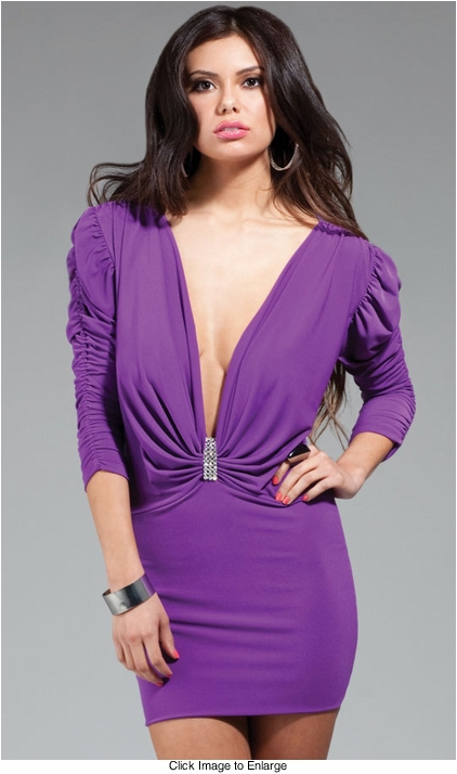 Plunging Neckline Purple Dress with Puffed Shoulders & Crystal Brooch