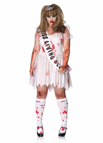 Plus Size Zombie Prom Queen Halloween Costume