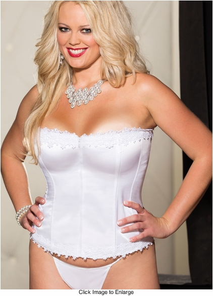 Plus Size Best Selling Satin and Spandex Corset Top in White