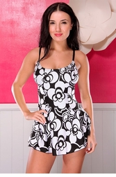 Plus Size  Black and White Flower  Swimsuit
