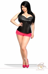 Plus Size Black Satin Bachelorette Corset with Thinestones