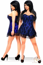 Plus Size Blue Satin Corset Dress with Lace Overlay