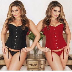 Plus Size Brocade Corset With Scalloped Lace Trim