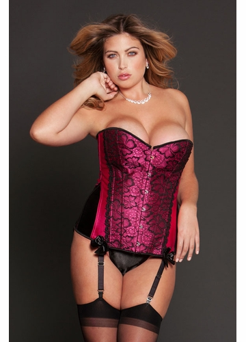 Plus Size Fuchsia Flower Lace Corset