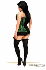 Plus Size Green Lace Steel Boned Corset
