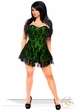 Plus Size Green Satin Corset Dress with Lace Overlay