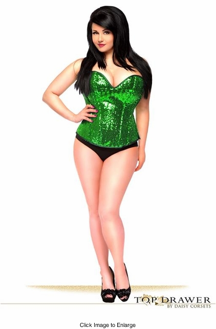 Plus Size Green Sequin Steel Boning Top Drawer Corset