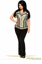 Plus Size Ivory Lace Steel Boned Corset Top