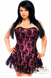 Plus Size Pink Corset Dress with Lace Overlay