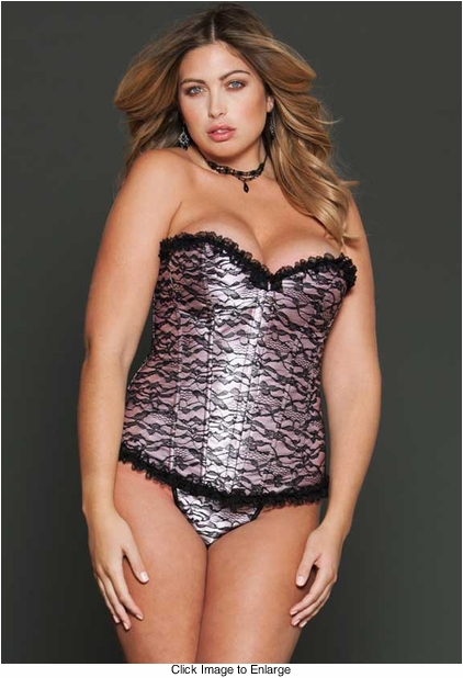 Plus Size Pink Satin Corset with Lace Overlay