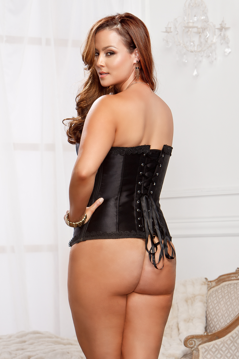 Plus Size Raven Black Corset and G-string