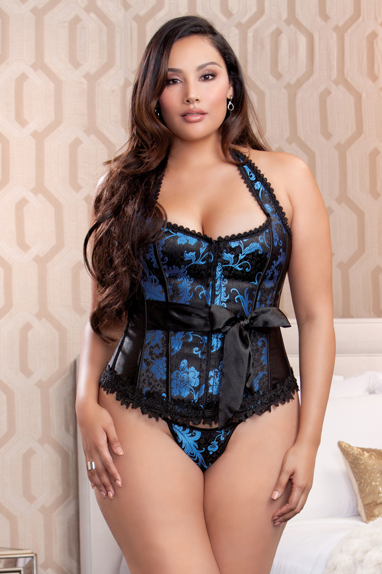 Plus Size Red and Black Scroll Corset