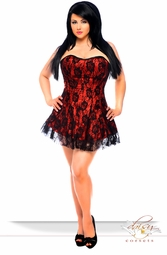 Plus Size Red Corset Dress with Lace Overlay