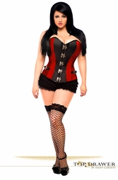 Plus Size Red Steel Boned Corset with Buckles