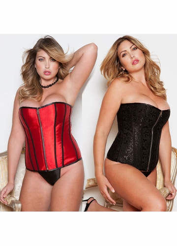 Plus Size Reversible Corset with Zipper Front
