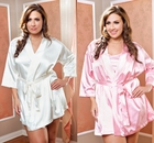 Plus Size Satin 3/4 Sleeve Robe with Sash (available in 12 colors)