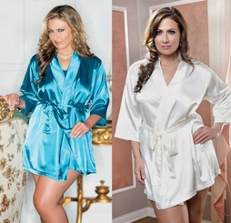 Plus Size Satin 3/4 Sleeve Robe with Sash (available in 9 colors)