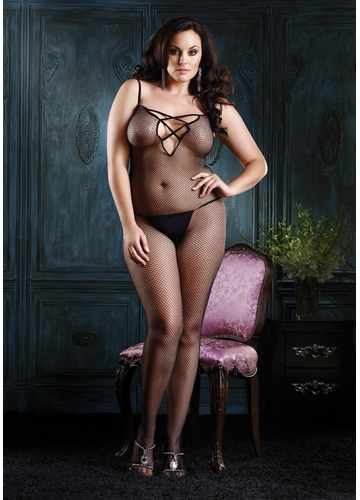 Plus Size Seamless Fishnet Bodystocking with Criss-Cross Strap Back