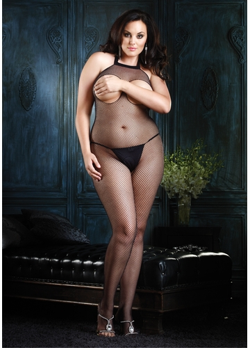 Plus Size Seamless Halter Peek-a-Boo Bodystocking