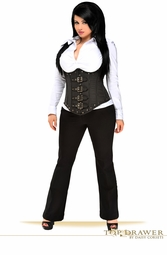 Plus Size Steel Boned Pinstripe Corset Top With Buckles
