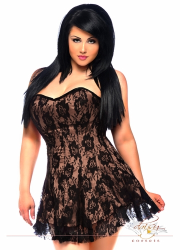 Plus Size Tan Satin Corset Dress with Lace Overlay