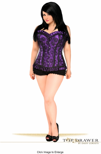 Plus Size Top Drawer Purple Lace Steel Boned Corset