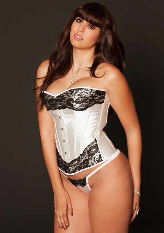 Plus Size White Satin Corset with Contrast Lace Overlay