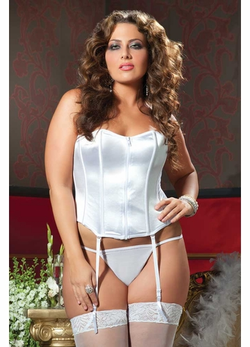 Plus Size White Satin Corset with Zip Front