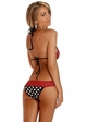 Polka Dot Pucker Back Bikini with Red Trim inset 1