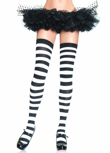 Punky Opaque Wide Stripe Thigh High Stockings