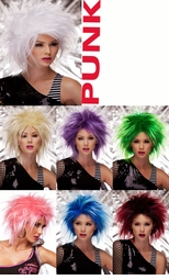 Punky Spiked Wig in Vibrant Colors