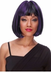 Purple and Black Deluxe Bob Wig for $19.99