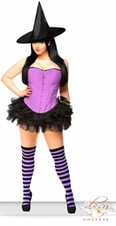Purple Corset Witch Costume with Hat, Petticoat and Stockings
