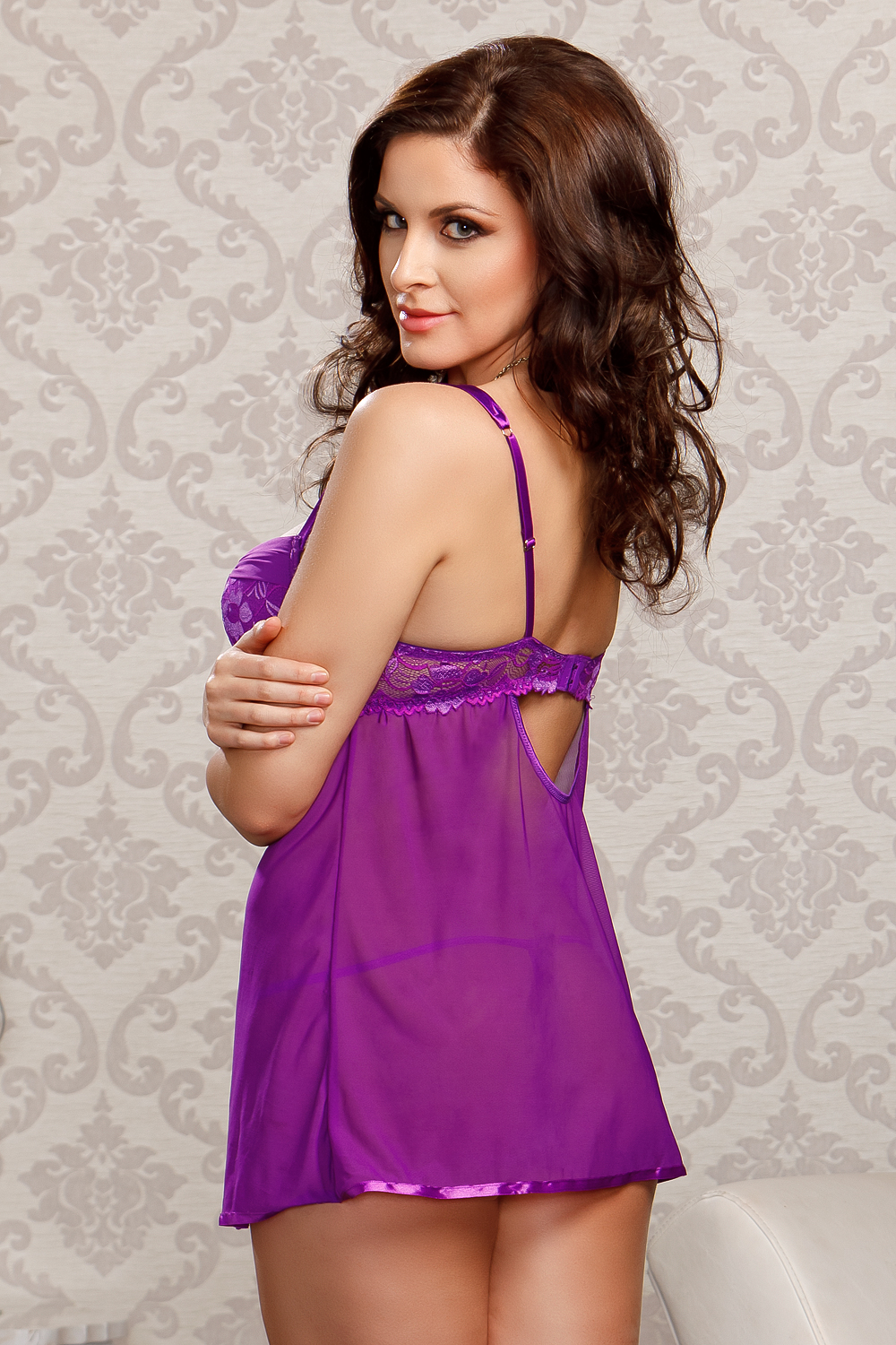 Purple Lace and Mesh Babydoll and Thong
