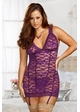 Purple Lace Garter Dress with G-string inset 2